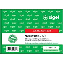 Sigel 2x40Blatt Carbonless Duplicate Receipt with Security Print Landscape Numbered, 1 Items, 50 Sheets Pack of 1