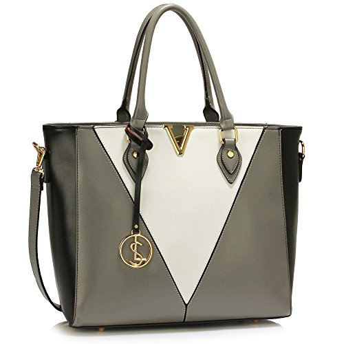 Trend Star Ladies Faux Leather Handbags Big Three subjects women designer tote bags, shoulder bags (X - Gray / White) (White Faux Patent Leder)