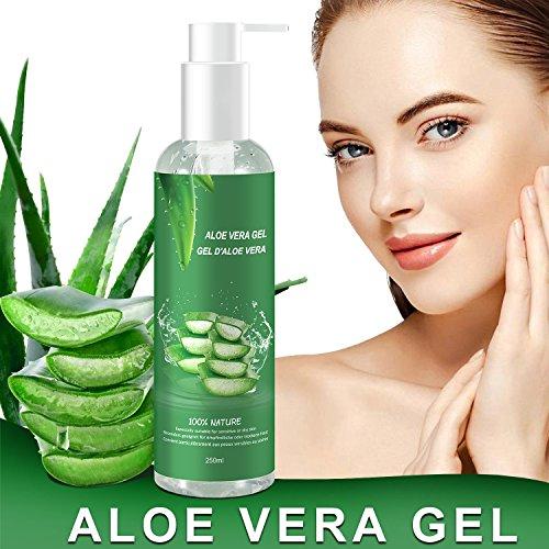 Aloe Vera Gel - 100% Bio für Gesicht, Haare und Körper - Natürliche, beruhigende und pflegende Feuchtigkeitscreme - Ideal für trockene, strapazierte Haut & Sonnenbrand - 250ml (Aloe-vera-extrakt)