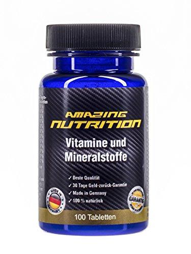 Multivitamine und Minalstoffe A-Z - Hochdosiert mit Vitamine C, B12, B1, B2, B6, A, E, D, Biotin, Niacin, Folsäure und Pantothsäure - 100 Tabletten - Made in Germany