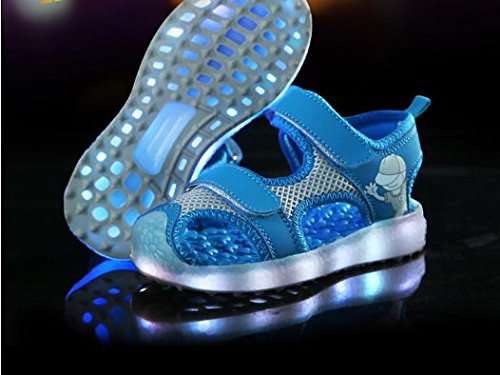 [Kinder Led Schuhe] Kidslove Led schuhe kinder LED Sportschuhe Kinder USB Aufladen 7 Lichtfarbe Leuchtend Kinderschuhe PU Sneaker Turnschuhe für Jungen Mädchen Blau + Grau