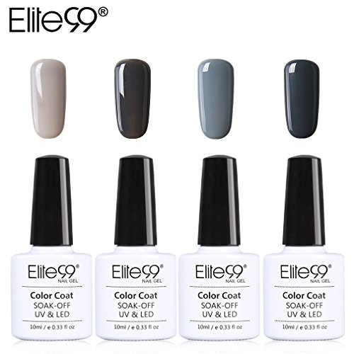 Lot Vernis Semi Permanent Elite99-4pcs Vernis à Ongles Gris UV LED Soak Off pour Kit Manucure&Nail Art 10ml-KIT06