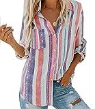 Frauen-Leinen-Print-Shirts Dreiviertel-Bluse mit V-Ausschnitt, Bunte Tops Mode, Stilvolle Gestreifte Shirts S-2XL