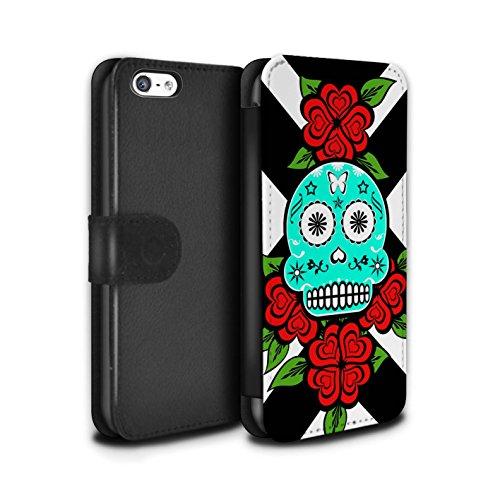Stuff4 Coque/Etui/Housse Cuir PU Case/Cover pour Apple iPhone 5C / Pack 13pcs Design / Crâne Calavera Collection Turquoise/Rose