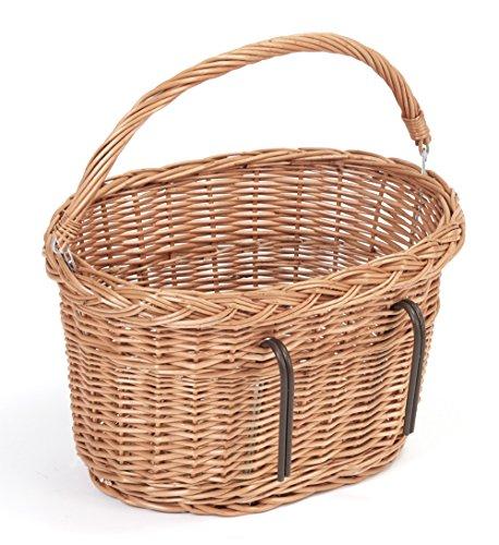 Tigana - Fahrradkorb aus Weide für Lenker mit Tragegriff 40 cm oval