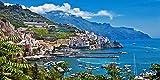 Quadro Stampa su Tela – Mare Molo Porto Cittadina Montagna Residenziale Paesaggio Marino Fotografia Decorazione da Parete – 120X60 cm