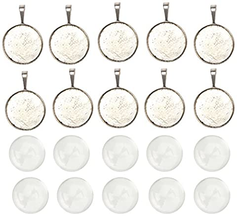 Pandahall 10 Sets Pendant Cabochon Settings (25mm Transparent Clear Domed Magnifying Glass Cabochon Covers + Antique Silver Alloy Tray Pendants, Lead Free & Nickel Free, Pendant: 40x26.5x6.5mm, Hole: 9.5x5mm