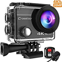 Crosstour 4K 20MP Action Cam WIFI Telecomando Subacquea Camera con Microfono Esterno Anti-Agitazione Time-Lapse e 2 Batterie Ricaricabili e 20 Kit di Accessori (CT8500)