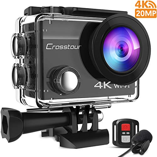 Crosstour 4K 20MP Action Cam WIFI Telecomando Subacquea Camera con Microfono Esterno Anti Agitazione Time Lapse e 2 Batterie Ricaricabili e 20 Kit di