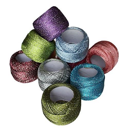Set Da 10 Gomitoli Di Filo Colorato Glitter Scintillante Per