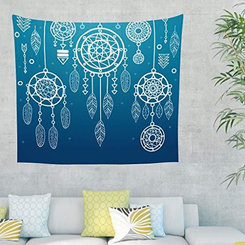 Tapiz de pared con atrapasueños, estilo psicodélico, para el dormitorio, el salón, como toalla de playa, esterilla de yoga 150 x 130 cm azul