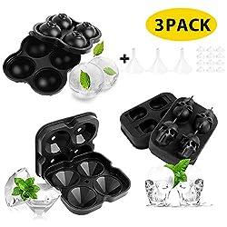 LBLA 3er-Pack Silikon Eiswürfelformen mit Abnehmbaren Deckeln und Trichter für Gefrierschrank Diamant/Kugelform/Schädelform Baby Food Wasser Whiskey Cocktail Drink