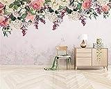 BZDHWWH Benutzerdefinierte 3D Wandbild Tapete Rose Hortensie Schmetterling Hintergrundbild Wall Silk Material Moderne 3D Wallpaper,208Cm (W) X 146Cm (H)