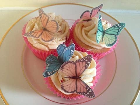 15 Mixed coloured edible Monarch butterfly cupcake Topper decorations by Topped Off (FREE UK SHIPPING)