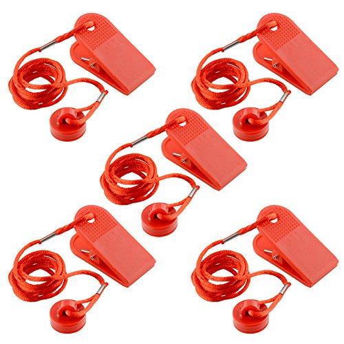Forfar 5Pcs Universal Sports Running Machine Seguridad segura Cinta de seguridad magnética Interruptor redondo de bloqueo de fitness Para la mayoría de la caminadora rojo