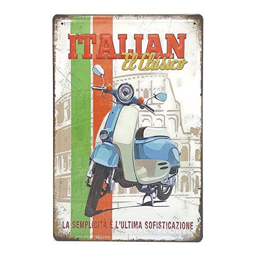 Lambretta Italienisches EL Clasico blau, Retro geprägt Metall blechschild, Wand Deko Schild (Steelers Italienisch)