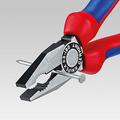 KNIPEX 03 02 180 Kombizange schwarz atramentiert mit Mehrkomponenten-Hüllen 180 mm