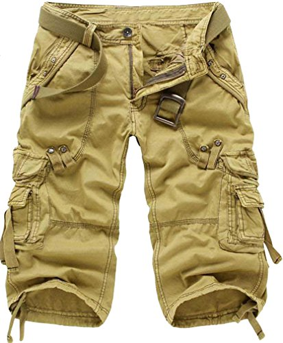 TDOLAH Herren 3/4 Shorts Jeans kurze Hose Cargo Shorts Clubwear ohne Gürtel Khaki