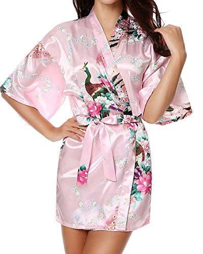 Desshok Donne Summer Silk Peacock Kimono Accappatoi Cardigan Sexy Sleepwear Camicie da notte Robe Pigiama Colore08