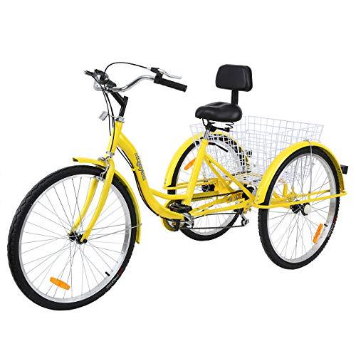 MuGuang Dreirad Für Erwachsene 26 Zoll 7 Geschwindigkeit 3 Rad Fahrrad Dreirad mit Korb(Gelb)
