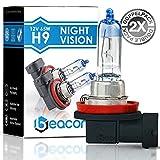 Beacon H9 Night Vision Scheinwerferlampe - Höchste Sicherheit bei Nebel, Regen, Schnee und nasser Fahrbahn - Passt in alle PKW mit H9 Lampen PGJ19-5 Sockel (12V 65W) für Abblendlicht und Fernlicht inkl. Straßenzulassung im eco-freundlichen Doppelpack (2 Stück H9 Glühbirnen)