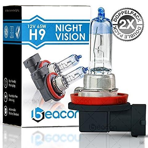Lampe de phares Beacon H9 night vision – Visibilité claire dans le brouillard, la pluie, la neige et les routes mouillées - Convient à toutes les voitures avec socle de lampe H9 PGJ19-5 (12V 65W), pour les éclairages faibles et faisceaux principaux, y compris l'immatriculation routière dans un double pack écologique (2 pièces d'ampoules H9).