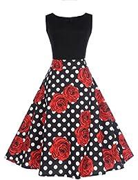 f1d8aa0f06d1 MORCHAN Femmes Floral Elegant sans Manches Vintage Thé Robe De Bal Hepburn  Robe