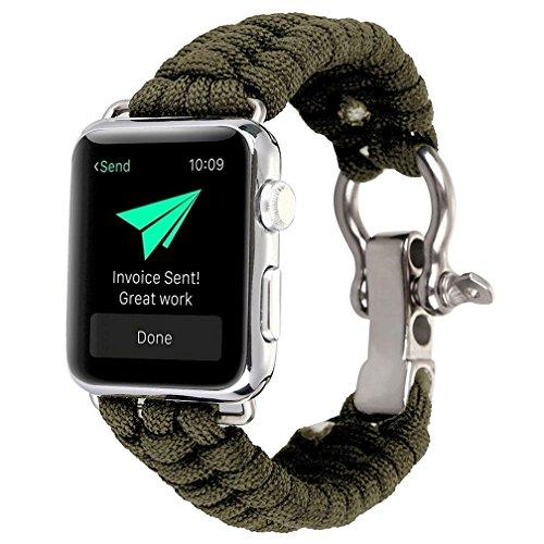 HappyTop Apple Watch Band Ersatz 38mm/42mm, Nylon Strick Herren-Armband iWatch Bands Outdoor Camping Wandern Survival Helfer, unisex, armee-grün, 42mm