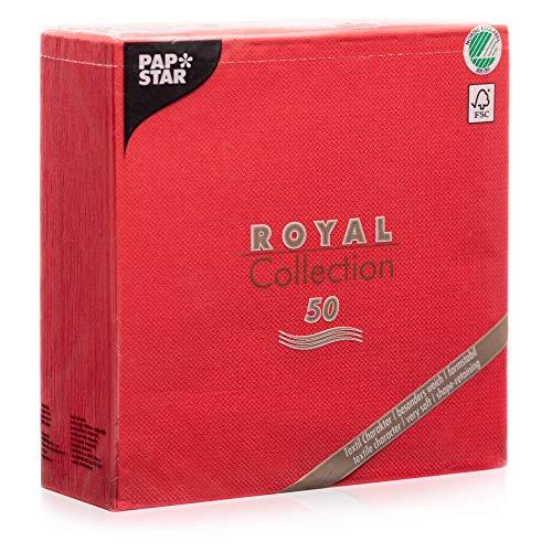 """Papstar Servietten / Tissueservietten rot \""""Royal Collection\"""" 40 x 40 cm, 1/4-Falz, Stoffoptik, nachhaltig, für Gastronomie, Haushalt und Feste, FSC-zertifiziert, #11607, 1 X 50er Pack"""