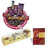 #10: Lovely Chocolate Basket With Anniversary card 4 Pieces Ferrero Rocher Chocolate Wedding Gift Anniversary Chocolate Hamper 965