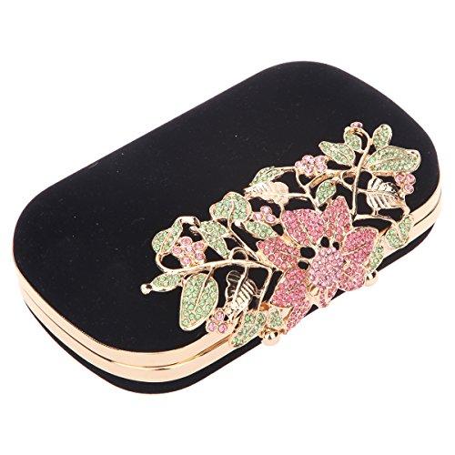 Bonjanvye Glitter Velvet Flower Clutch Daily Handbag for Girls Multicolor Multicolore