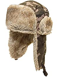Mens camouflage ushanka/trapper hat with faux fur trim available in sizes 58cm, 59cm or 60cm