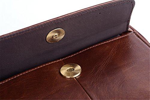Genda 2Archer in Pelle Uomini Borsa a Tracolla iPad Messenger Bag da 10 Pollici (24.5 cm* 7cm *21 cm) Marrone