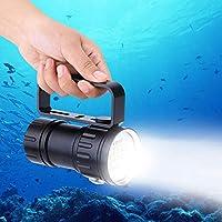 Lampe de Plongée Sous Marine IPX8 Etanche 18000LM Lampe Torche Sous l'Eau 80m Pour Photographie et Vidéo