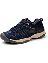 UBFen Mens Hiking Shoes Trekking Outdoor Sports Walking Indoor Casual Fashion Sneakers Running Shoes Brown Blue