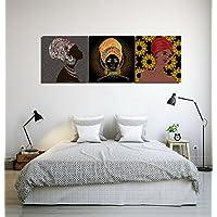 Decoración africana de la cultura mujer chica pañuelo_Arte de la pared Pintura al óleo Imagen en lienzo Decoración del hogar,3 paneles,40x 40 CM,Sin marco