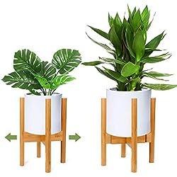 RIOGOO Support pour Plantes, présentoir de Pot de Fleur en Bois, Porte-Plante en Bois rétro, mi-siècle, Support en Pot pour intérieur et extérieur, jardinière jusqu'à 12 Pouces, Naturel(1 Paquet)