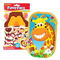 Baker Ross AV871 Animal Funny Face Sticker Sets (Set of 4), Assorted