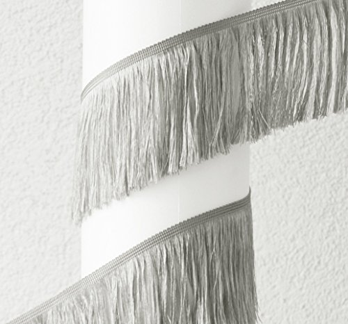 Fransen Shop 11cm Fransen Geschnitten 5m Rolle (1,90Eur/m) - Schnittfranse - Fransenborte - Fransenband (Silber-grau)