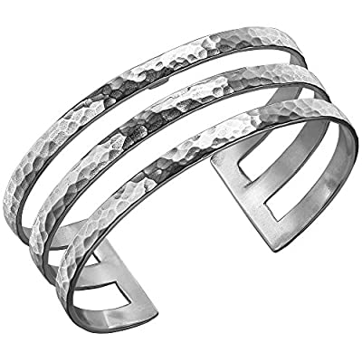 Dower & Hall Nomad Sterling Silver 25mm Beaten Triple Bar Cuff
