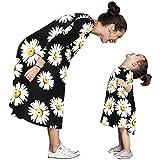 Mama Tochter Herbst Kleid LSAltd Frauen Mädchen Vintage Sunflower Print Kleid Langarm Sundress Lady Familie Passende Kleidung