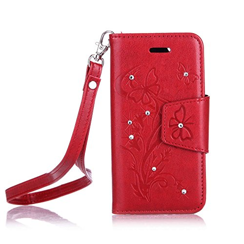 iPhone se étui, iPhone 5S, iPhone se/5S étui de portefeuille en cuir BookStyle, saincat Etui en cuir Wallet Case Cuir PU Folio fille chat Motif Coque en cuir Bumper Housse Skin Soft Back Cover Housse  papillon de diamants,Rouge