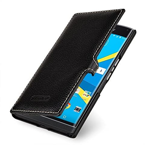 Tetded ® Blackberry Priv étui en cuir véritable peau de vache, Wallet, Noir