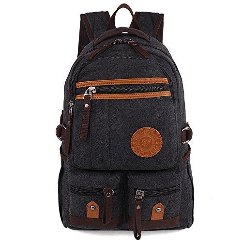 Gendi Vintage Casual Daily Backpack Leinwand BAG Student Schultasche Retro Tasche mit Reißverschluss Wandern Rucksack Reisen Rucksack o.ä Schwarz