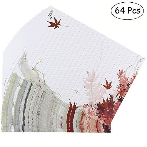 bolbove 64PCS Schöne Pflanze Elegante Fall Maple Leaves Buchstabe Schreiben Stationery Papier gefüttert Blatt weiß