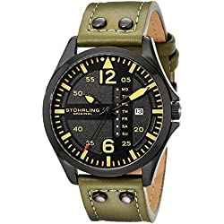 Stuhrling Original Men's Quartz Watch with Black Dial Analogue Display and Green Leather Strap 699.03