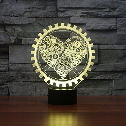 LED Nachtlicht,KINGCOO Magical 3D Visualisierung Amazing Optische Täuschung Touch Control Light 7 Farben ändern Schreibtischlampen für Kinderzimmer Home Decoration Best Geschenk (Liebe Gang) - 3