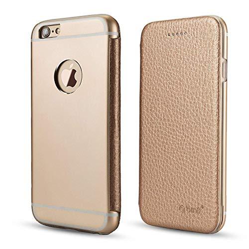 OKCS Binli echt Leder Schutzhülle kompatibel mit iPhone 6 Plus mit stylischer Aluminium Rückseite Hard Cover Flip Case - Gold Aluminium Hard Case