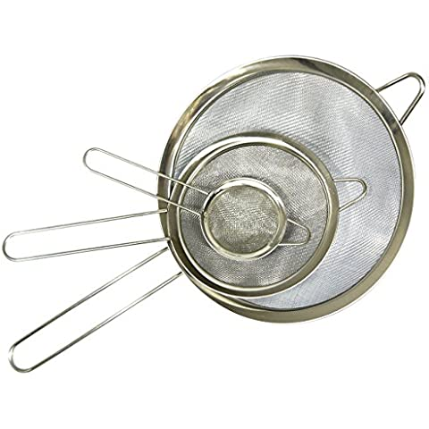 Food Strainer, Set of 3, by HouseBasics, Ideal as Quinoa, Tea, Spaghetti Strainer, and more! Stainless Steel and Ultra-Fine Mesh. Great Strainer for Any Style of Cooking or Baking! Get Yours Today! by