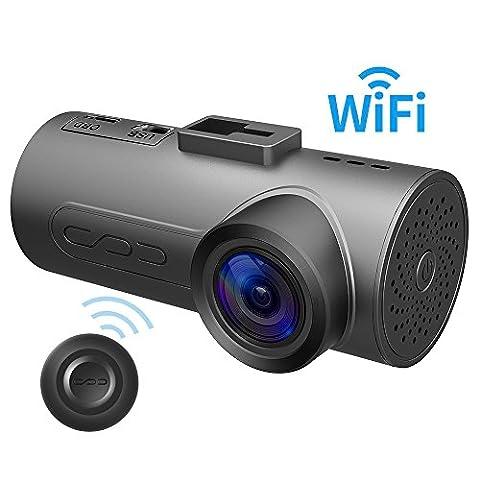 Dashcam C1 Plus Wifi Connect de Halocam avec capteur de lumière IMX291 de Sony, vision de nuit, enregistreur vidéo de conduite pour partage de vidéos, test d'accélération, assistance pilote, auto-inspection du véhicule, G-capteur pour la détection de mouvement et litiges d'accident de la circulation, applications iOS et Android